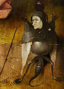 """Der Advokat des Teufels im Hintergrund (""""Johannes auf Patmos"""", Hieronymus Bosch, um 1505, noch in Gemäldegalerie)"""