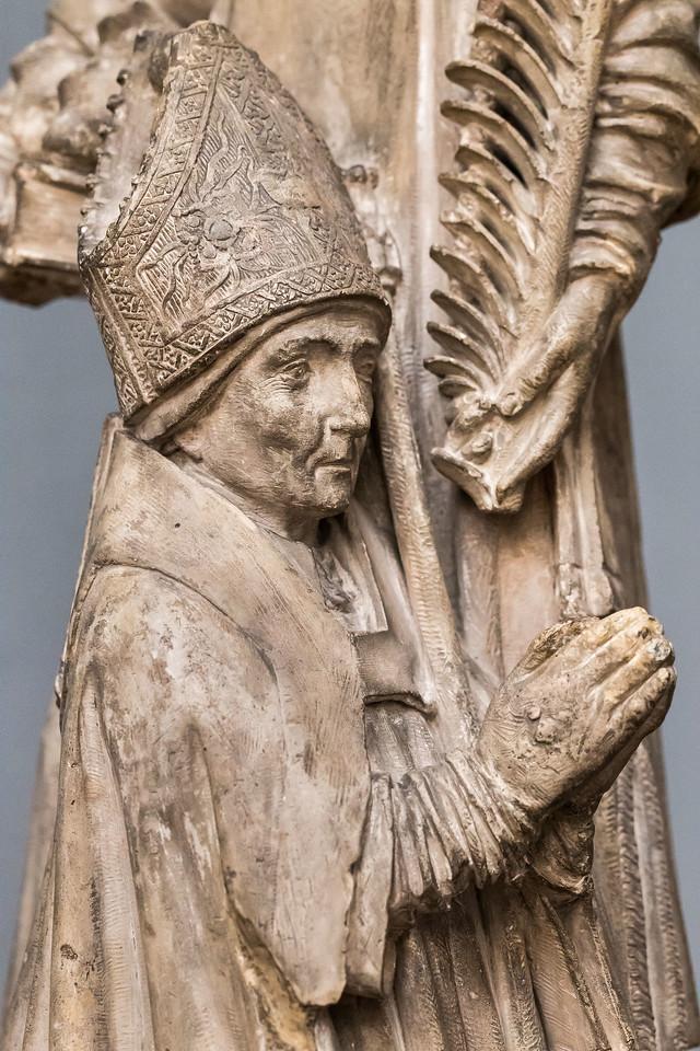 Jaques Morel o.U.: Knieender Bischof mit hl. Stephanus, Detail (um 1450) [aus Bode-Museum Berlin]