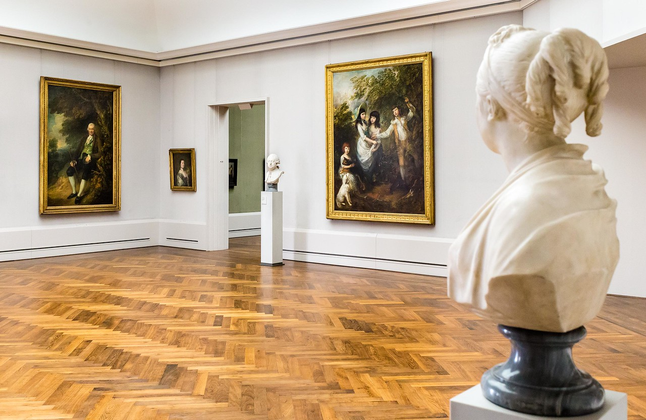 2 Büsten von Houdon in Raum 20 (Gainsborough) [Gemäldegalerie Berlin]