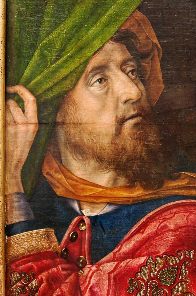 Hugo van der Goes: Die Anbetung der Hirten, Detail, um 1480 [Gemäldegalerie Berlin, in restauro]