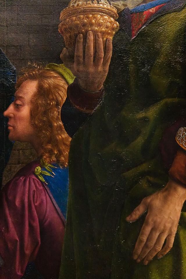Hugo van der Goes: Die Anbetung der Könige (Montforte-Altar), Detail, um 1470 [Gemäldegalerie Berlin]