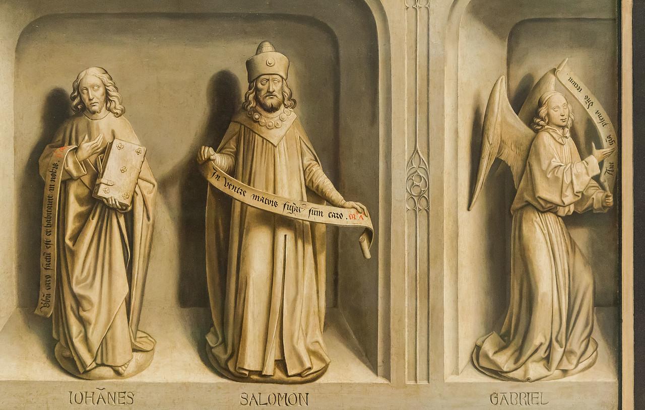 Simon Marmion: Omer-Retabel, Rückseite. Johannes, Salomon, Gabriel [1459, Gemäldegalerie Berlin]