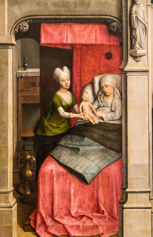 Simon Marmion: Omer-Retabel, Feld 2. Geburt des Hl. Bertin [1459, Gemäldegalerie Berlin]