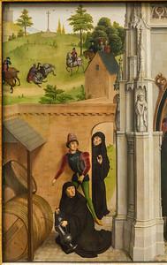 Simon Marmion: Omer-Retabel, Feld 6. Unfall des Ritters und Weinwunder [1459, Gemäldegalerie Berlin]