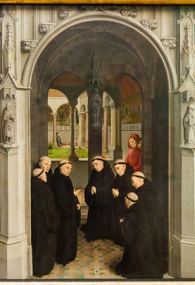 Simon Marmion: Omer-Retabel, Feld 8. Aufnahme 4 bretonischer Adliger ins Kloster [1459, Gemäldegalerie Berlin]