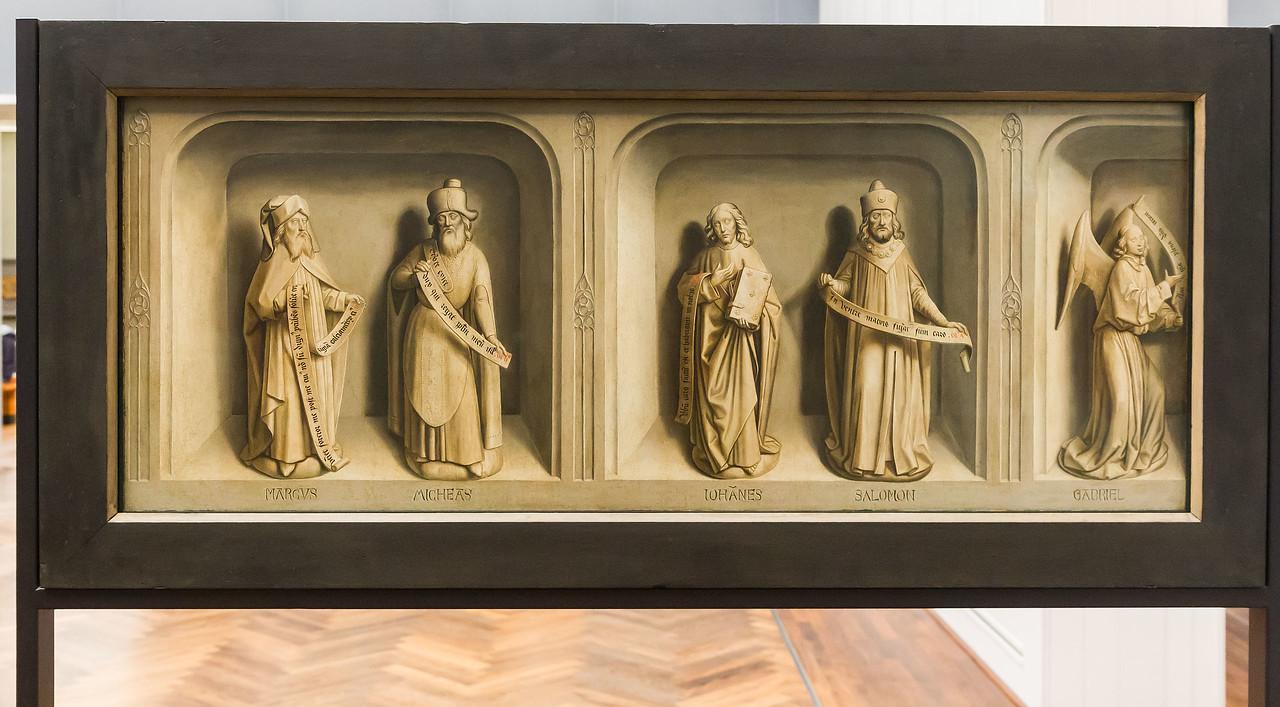 Simon Marmion: Omer-Retabel, Werktagsseite. Linker Flügel [1459, Gemäldegalerie Berlin]