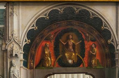 Simon Marmion: Omer-Retabel, Feld 3. Tympanon [1459, Gemäldegalerie Berlin]