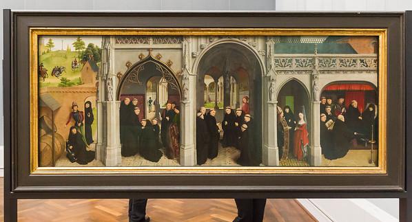 Simon Marmion: rechter Flügel des Retabels aus Saint-Omer - Leben des Hl. Bertin [1459, Gemäldegalerie Berlin]