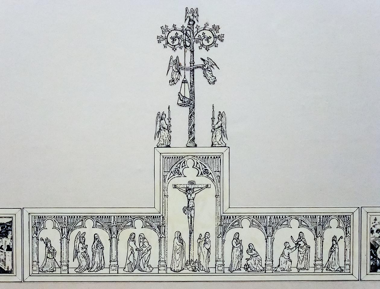 Simon Marmion: Omer-Retabel. Rekonstruktion Festtagsseite, Mittelteil [1459]