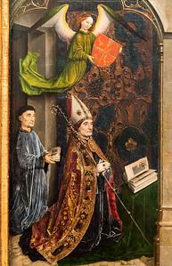 Simon Marmion: Omer-Retabel, Feld 1. Stifter Guilleaume Fillastre [1459, Gemäldegalerie Berlin]