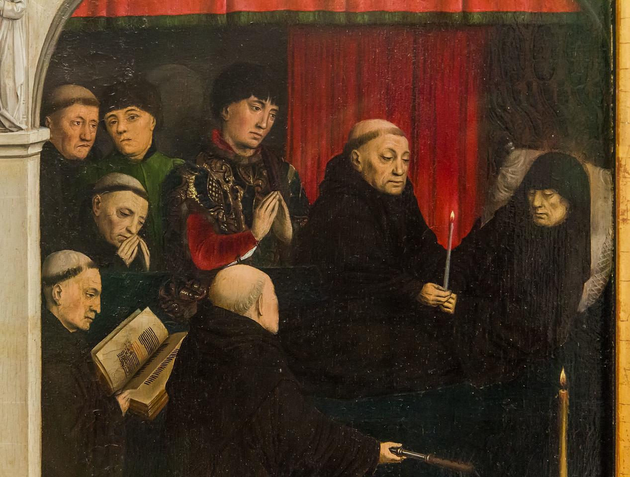 Simon Marmion: Omer-Retabel, Feld 10. Tod des Hl. Bertin [1459, Gemäldegalerie Berlin]