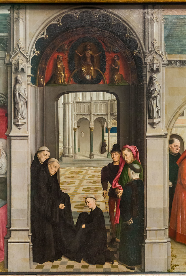 Simon Marmion: Omer-Retabel, Feld 3. Einkleidung Bertins als Benediktiner [1459, Gemäldegalerie Berlin]