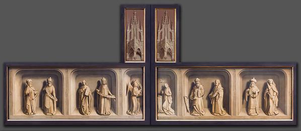 Simon Marmion: Fotomontage der Werktagsseite mit Londoner Aufsätzen [1459, Gemäldegalerie Berlin, National Gallery London]
