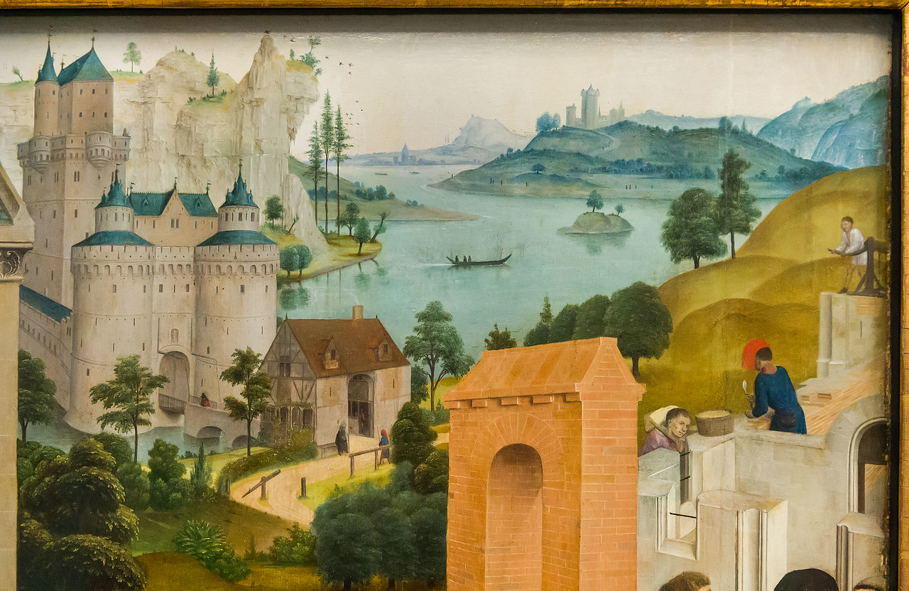 Simon Marmion: Omer-Retabel, Feld 5. Finden und Bau des neuen Klosters [1459, Gemäldegalerie Berlin]