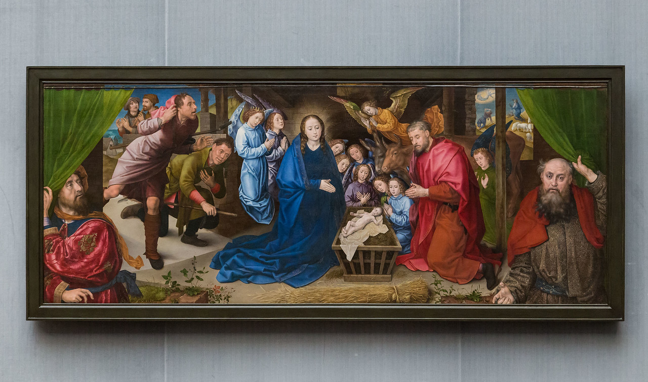 Hugo van der Goes: Anbetung der Hirten, um 1480 [Gemäldegalerie Berlin, nach Restaurierung]