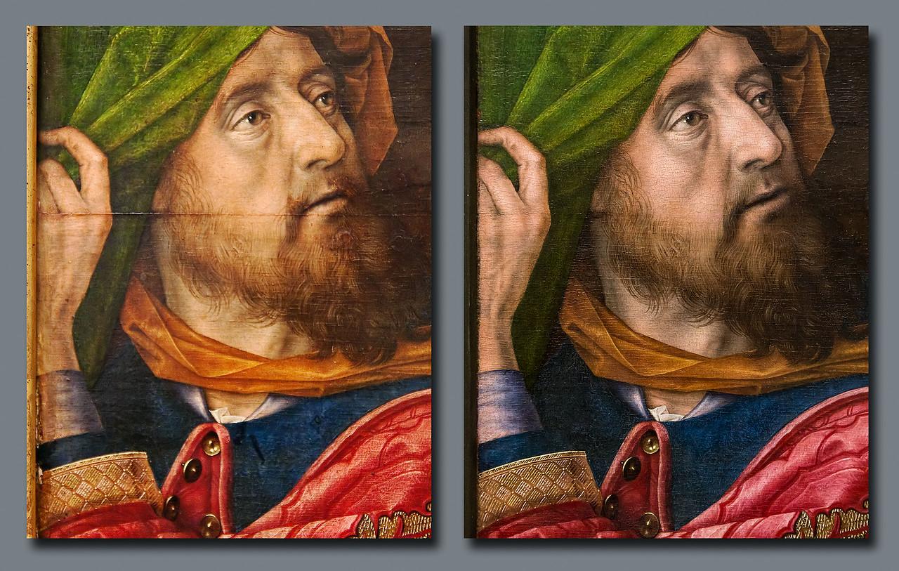 Hugo van der Goes, Anbetung der Hirten: linker Prophet vor und nach Restaurierung [Gemäldegalerie Berlin]