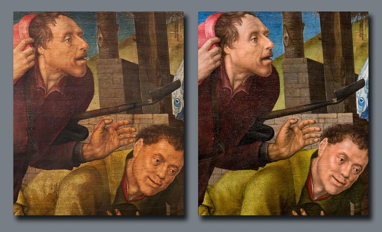 Hugo van der Goes, Anbetung der Hirten: Hirten vor und nach Restaurierung [Gemäldegalerie Berlin]
