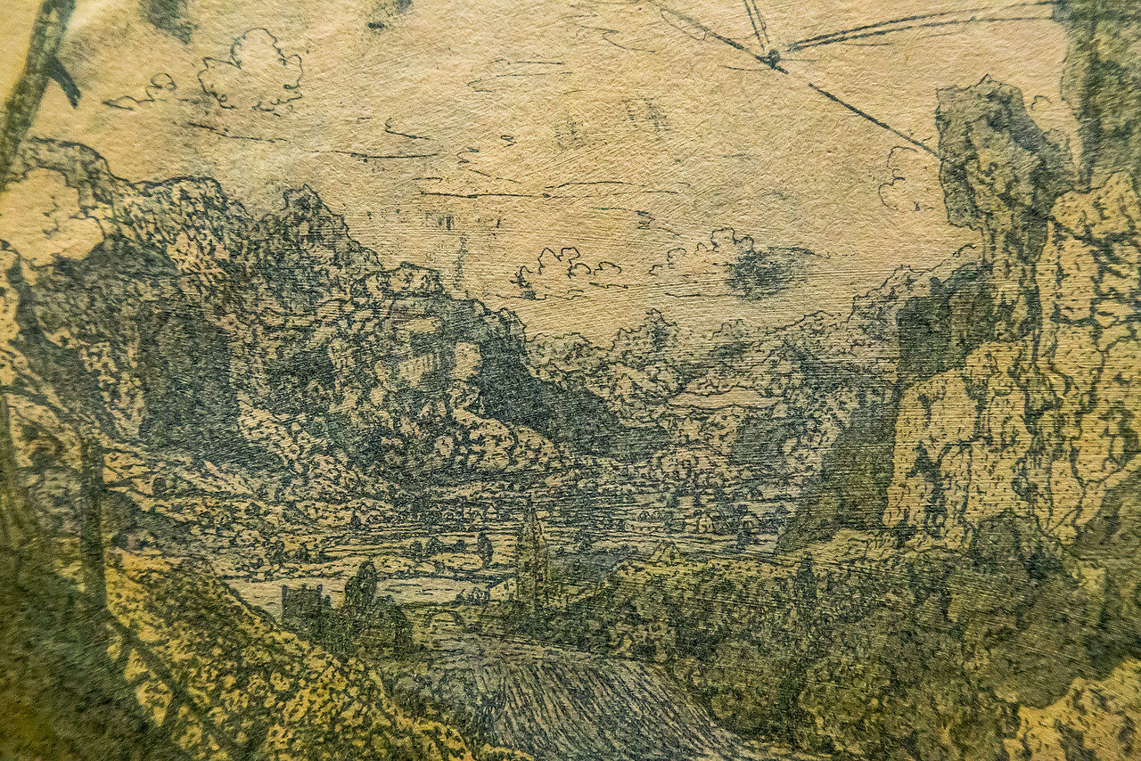 Hercules Seghers: Gebirgstal mit Wasserfall, Detail [um 1620, Kupferstichkabinett Berlin]
