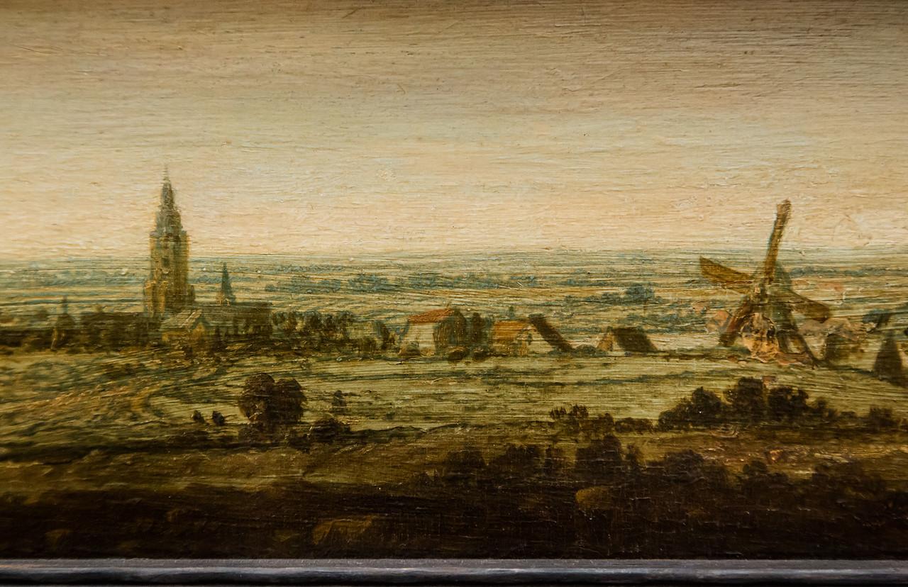 Hercules Seghers: Flachlandschaft mit einer Stadt am Fluss [Um 1620/30, Gemäldegalerie Berlin]