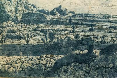 Hercules Seghers: Gebirgstal mit eingezäunten Feldern, Detail [um 1620/30, Kupferstichkabinett Berlin]