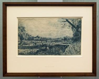 Hercules Seghers: Gebirgstal mit eingezäunten Feldern [um 1620/30, Kupferstichkabinett Berlin]
