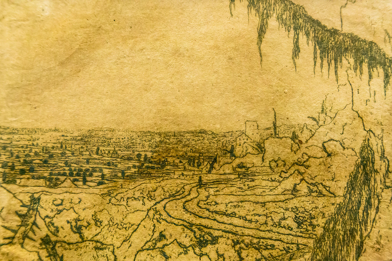 Hercules Seghers: Die Landschaft mit dem Fichtenzweig 1, Detail [um 1620/30, Kupferstichkabinett Berlin]