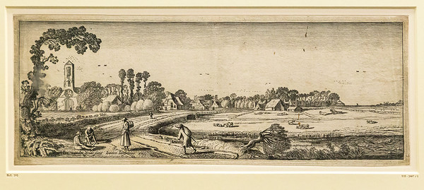 Jan van de Velde: Landschaft mit Dorf im Hintergrund [um 1620, Kupferstichkabinett Berlin]