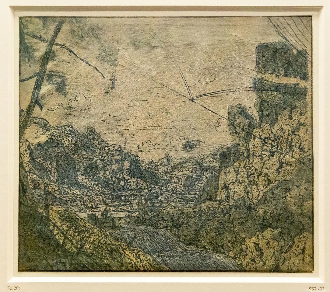 Hercules Seghers: Gebirgstal mit Wasserfall [um 1620, Kupferstichkabinett Berlin]