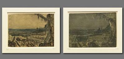 Hercules Seghers: Die Landschaft mit dem Fichtenzweig 2+3 [um 1620/30, Kupferstichkabinett Berlin]