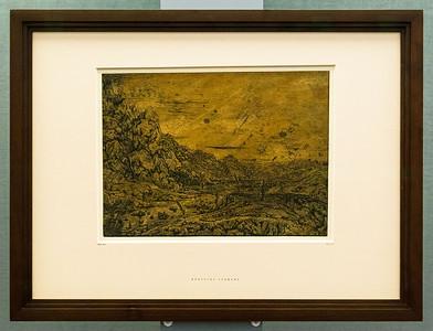 Hercules Seghers: Flusstal mit vier Bäumen [um 1620, Kupferstichkabinett Berlin]