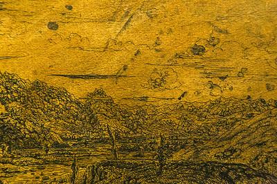 Hercules Seghers: Flusstal mit vier Bäumen, Detail [um 1620, Kupferstichkabinett Berlin]