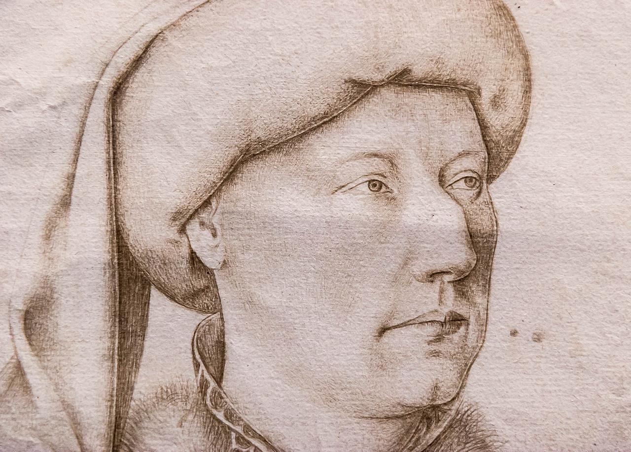 Jan van Eyck (Nachfolger): Porträt eines Mannes, Detail [1.H. 15.Jh., Kupferstichkabinett Berlin]