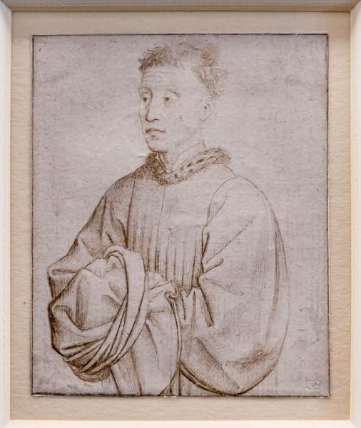 Rogier van der Weyden (Werkstatt): Mann in Halbfigur [1.H.15.Jh., Kupferstichkabinett Berlin]