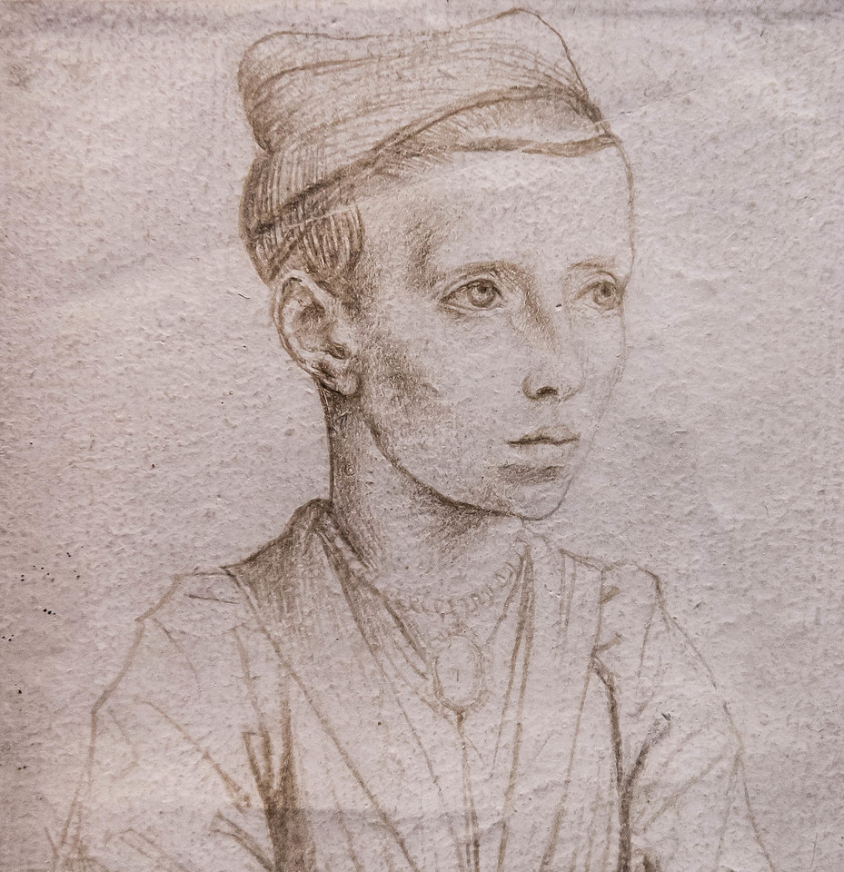 Meister der Ursulalegende (zugeschr.): Porträt eines Mädchens in Halbfigur, Detail [vor 1480, Kupferstichkabinett Berlin]