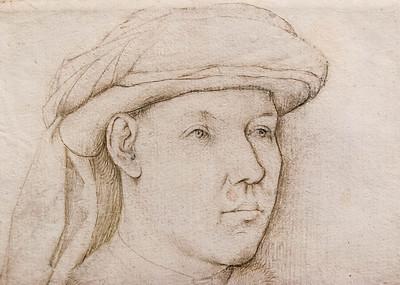 Jan van Eyck (Nachfolger): Brustbild eines jungen Mannes, Detail [um 1450, Kupferstichkabinett Berlin]