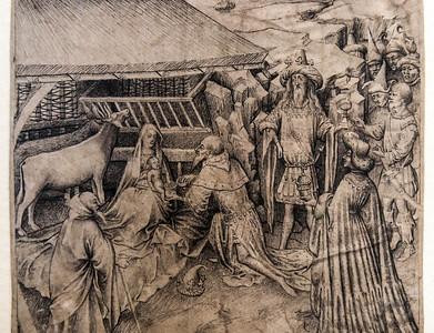 Meister des Zweder van Culemberg (zugeschrieben): Anbetung der Könige, Detail [um 1430, Kupferstichkabinett Berlin]