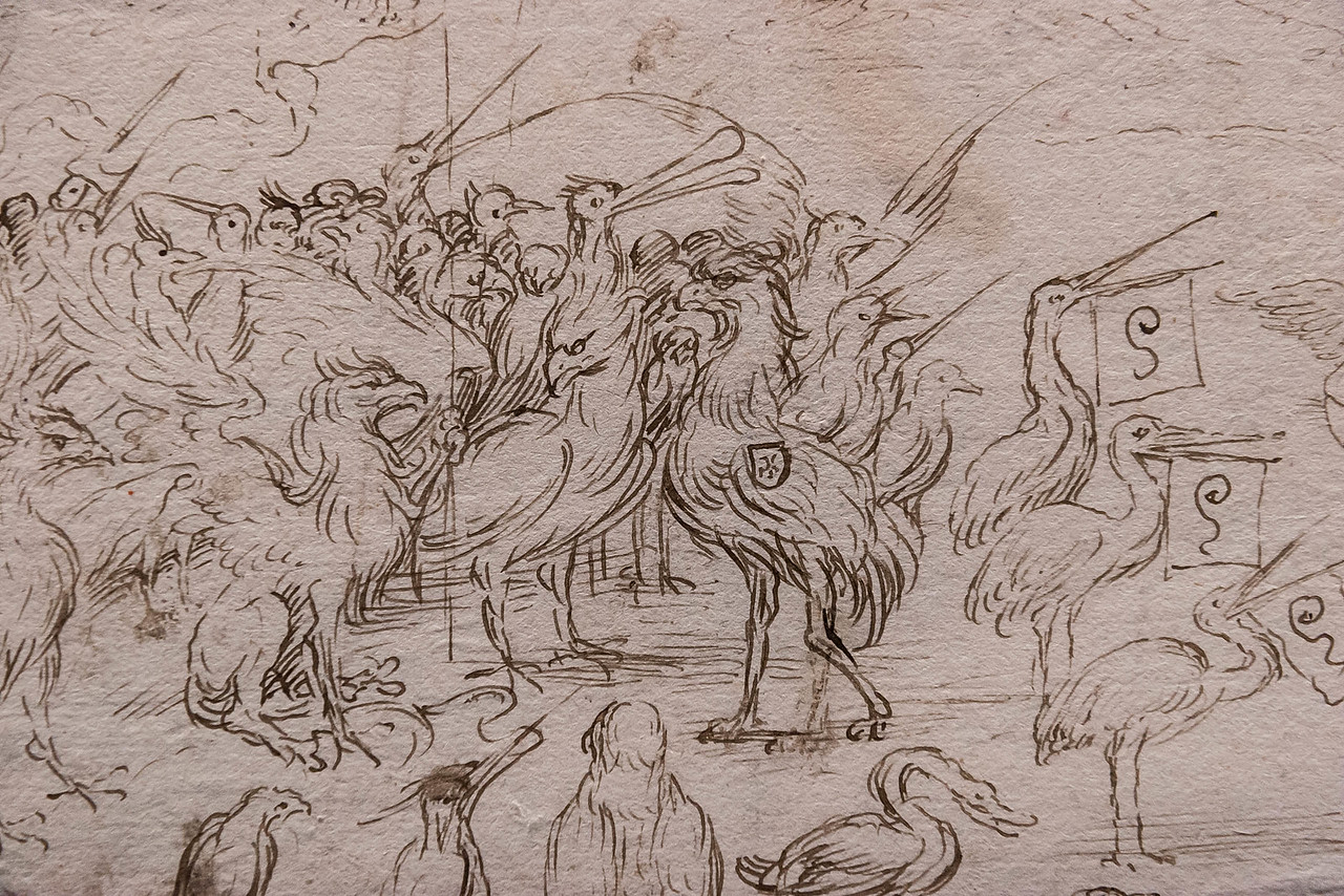 Hieronymus Bosch (oder Werkstatt): Versammlung der Vögel, Detail [Um 1500-1510, Kupferstichkabinett Berlin]