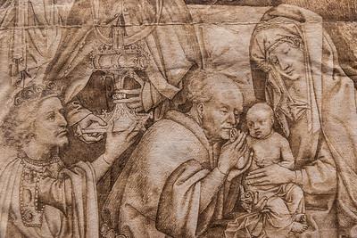 Niederländisch: Anbetung der Könige, Detail [M.15.Jh., Kupferstichkabinett Berlin]