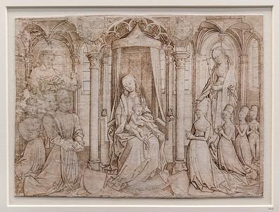 Meister der Barbaralegende: Madonna mit Johannes d.T. und Margarete und Stiftern [1470er Jahre, Kupferstichkabinett Berlin]