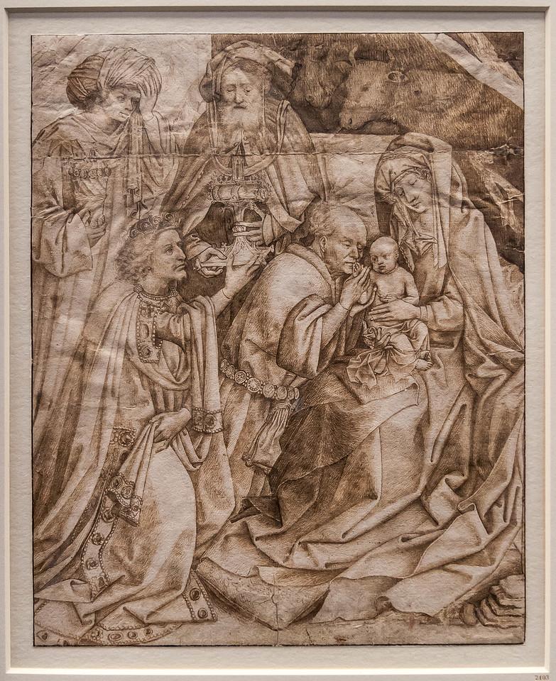 Niederländisch: Anbetung der Könige [M.15.Jh., Kupferstichkabinett Berlin]