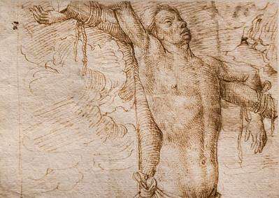 Hans Memling (Werkstatt): Der gute Schächer am Kreuz, Detail [Ende 15.Jh., Kupferstichkabinett Berlin]