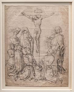Rogier van der Weyden (Umkreis): Kreuzigung mit vier Stiftern [3.V.15.JH., Kupferstichkabinett Berlin]
