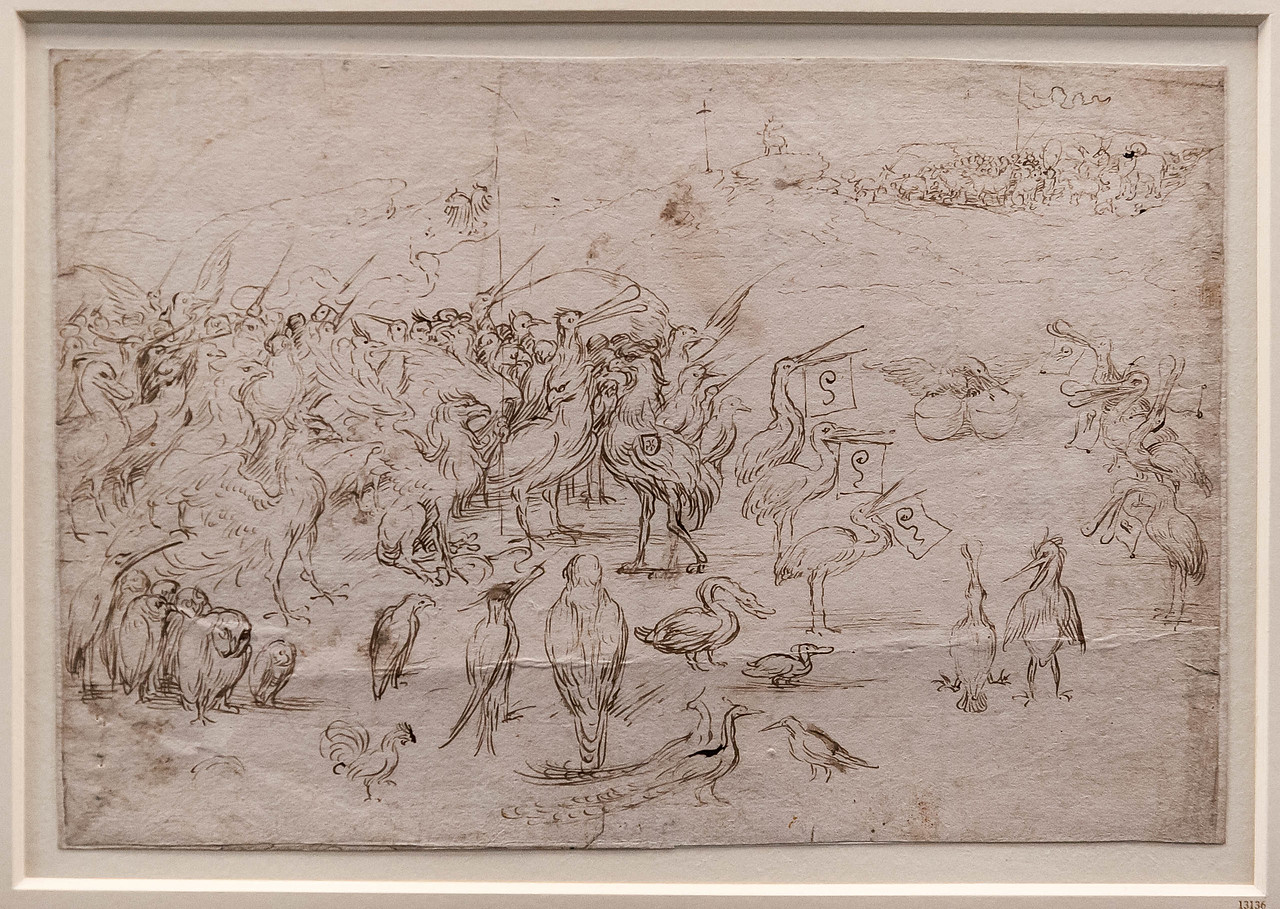 Hieronymus Bosch (oder Werkstatt): Versammlung der Vögel [Um 1500-1510, Kupferstichkabinett Berlin]