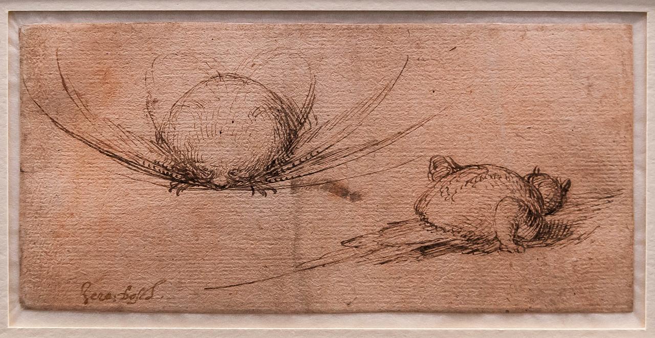 Hieronymus Bosch: Zwei Phantasiegeschöpfe 1 [Um 1500, Kupferstichkabinett Berlin]