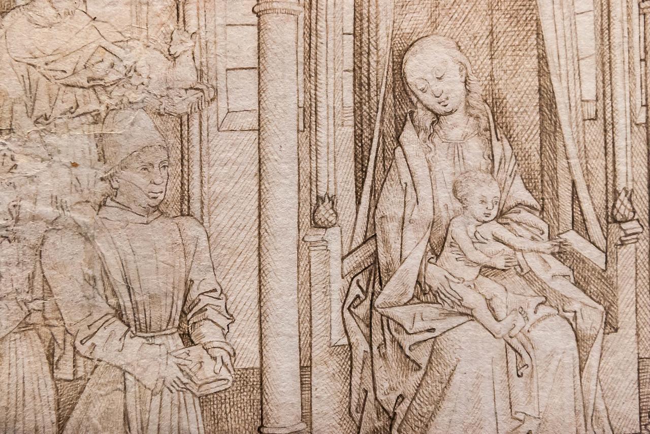 Meister der Barbaralegende: Madonna mit Johannes d.T. und Margarete und Stiftern, Detail [1470er Jahre, Kupferstichkabinett Berlin]