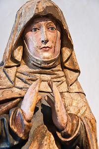 Trauernde Muttergottes; um 1500-1510; Reste orig. Fassung, tlw. überfasst; aus Gundorf bei Leipzig; Schlossbergmuseum Chemnitz