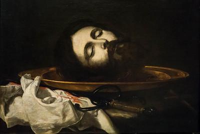 José de Ribera: Haupt Johannes des Täufers, Detail [1644, Academia de Bellas Artes, Madrid]