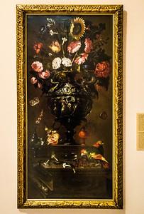 Juan de Arellano: Blumen-Bodegon mit Sonnenblume, Vögeln, Früchten und Insekten [1647, Academia de Bellas Artes, Madrid]