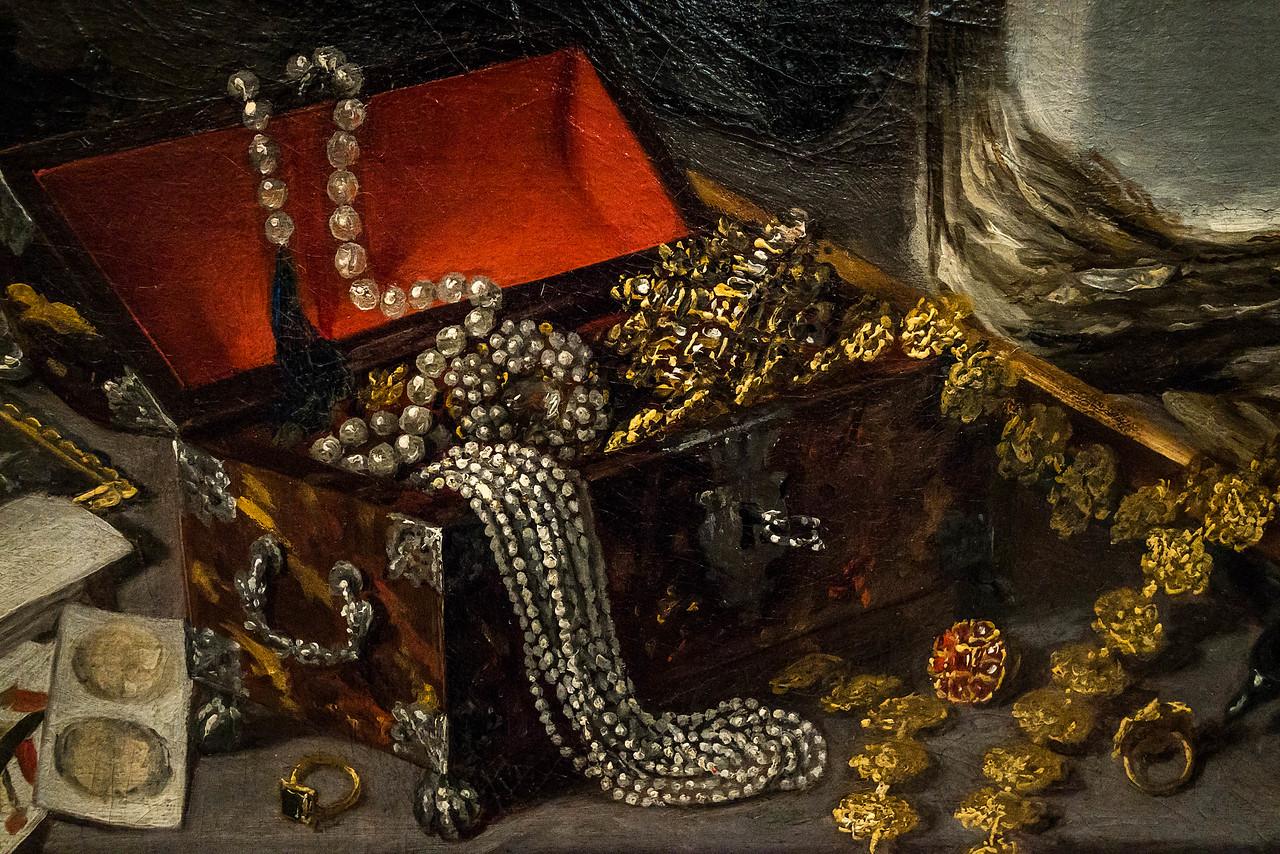Antonio de Pereda: Traum eines Ritters, Detail [um 1650, Academia de Bellas Artes, Madrid]