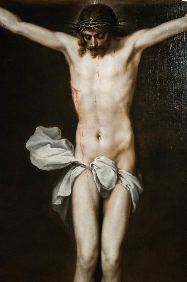 Alonso Cano: Christus am Kreuz, Detail [um 1640,  Academia de Bellas Artes, Madrid]